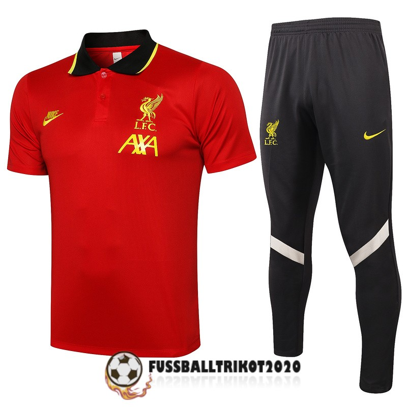 2021-2022 fc liverpool polo kit rot schwarz gold trainingsshirt