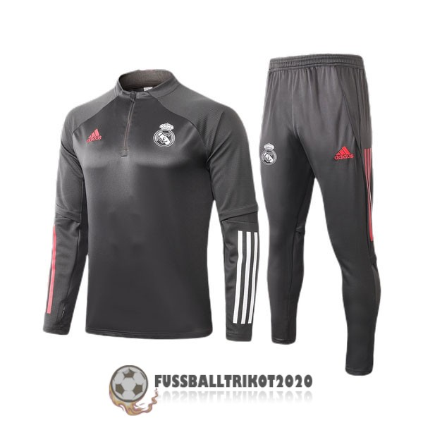 sweatshirts real madrid dunkelgrau 2020-2021 zippverschluss kinder