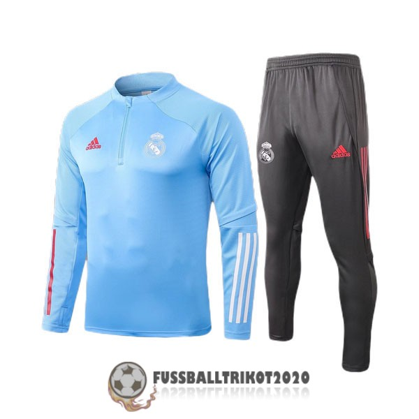 sweatshirts real madrid hellbalu 2020-2021 zippverschluss kinder